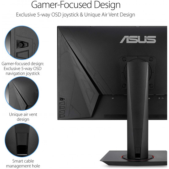 "Asus VG278QR 27"" Gaming Monitor, 1080P Full HD, 165Hz (Supports 144Hz), G-SYNC Compatible, 0.5ms, Extreme Low Motion Blur, Eye Care, DisplayPort HDMI DVI"
