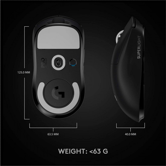 Logitech G PRO X SUPERLIGHT Wireless Gaming Mouse - High Speed, Lightweight Gaming Mouse Compatible with PC and Mac (USB port) - Black