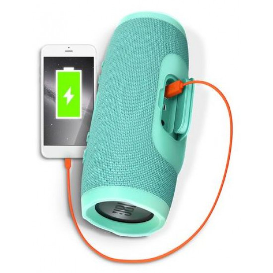 JBL Charge 3 Portable Bluetooth Speaker with high-capacity battery to charge your devices - Teal