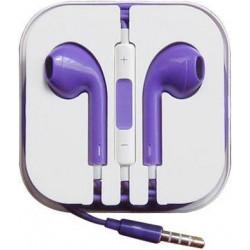 Earphone Earbud Headset Headphone with Mic for Apple iPhone (Purple)