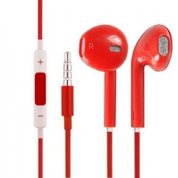Earphones Headphones With Remote Mic Volume Controls For Apple ( Red )