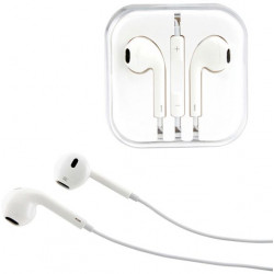 Earphone Earbud Headset Headphone with Mic for Apple iPhone 6 6s 5 5s iPod ( White)