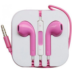 Earphone Earbud Headset Headphone with Mic for Apple iPhone 6 6s 5 5s iPod ( Pink )